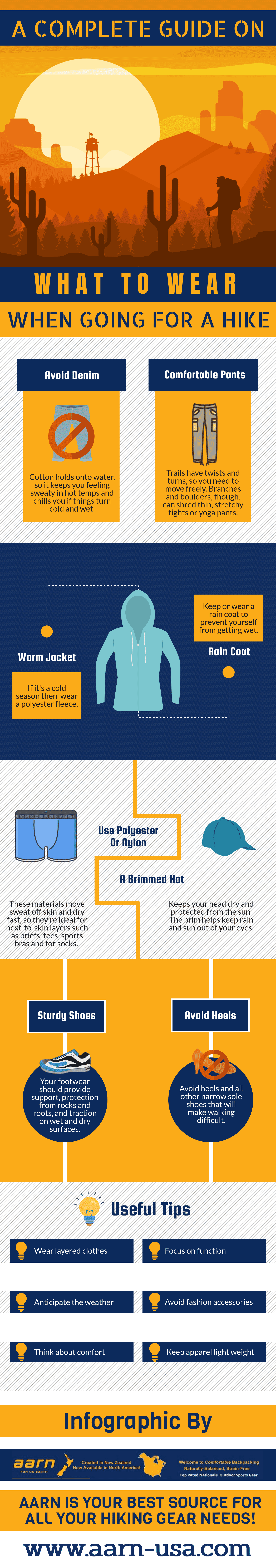 What to wear on a hike infographic