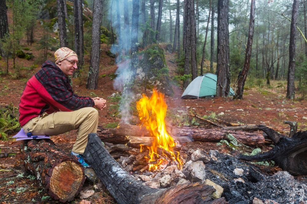 Male Hiker at Camp Fire
