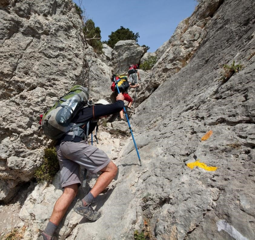 Rock climbers using Aarn ultralite backpacks