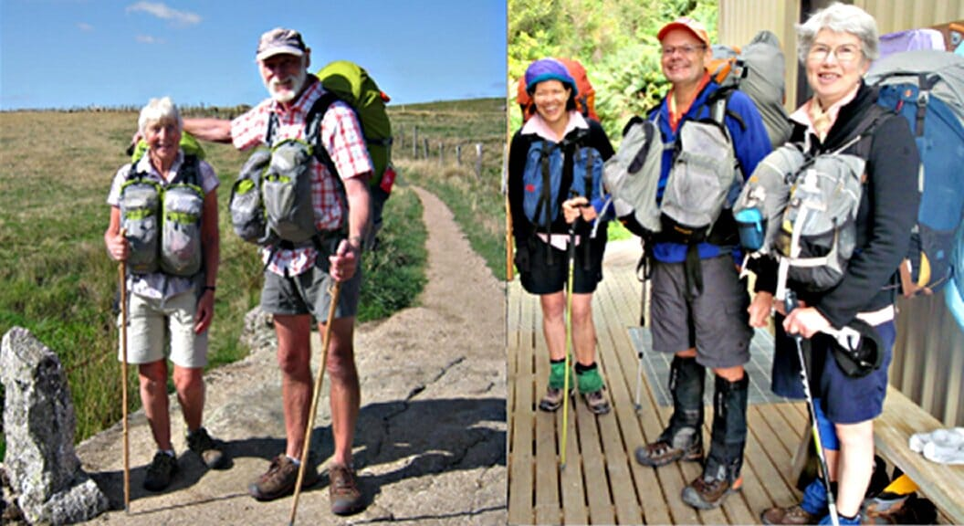 Hiking groups wearing Aarn packs